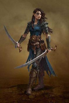 Elf fighter dual wield fantasy warrior, elf warrior, fantasy rpg, fantasy w Fantasy Warrior, Elf Warrior, Fantasy Rpg, Fantasy Artwork, Warrior Outfit, Dragon Warrior, Warrior Queen, Warrior Girl, Warrior Princess