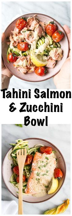 Tahini Salmon and Zucchini Bowls | My Kitchen Love. Bright, delicious and healthy salmon and zucchini bowls with a tahini dressing.
