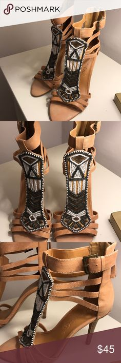 Beaded High Heel Sandals Nine West Vintage America Collection. Open toe heeled sandals with beautiful beading detail. Never worn, excellent condition, no box. Has ankle strap and back zipper. Nine West Shoes Heels