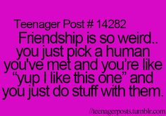 That's and odd but true way of thinking of friendship...