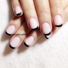 black french manicure #frenchmanicure #notd                                                                                                                                                                                 More