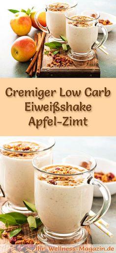 Apfel-Zimt-Eiweißshake selber machen - ein gesundes Low-Carb-Diät-Rezept für Frühstücks-Smoothies und Proteinshakes zum Abnehmen - ohne Zusatz von Zucker, kalorienarm, gesund ... #eiweiß #eiweissshake #lowcarb #smoothie #abnehmen