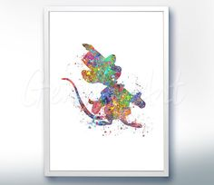 Disney Timothy Q. Mouse from Dumbo Flying Elephant Watercolor Poster Print - Watercolor Painting - Watercolor Art - Nursery Decor [3]