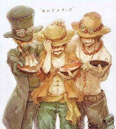 One piece - Ace, Sabo, Luffy One Piece Ace, One Piece Manga, One Piece Fanart, Me Anime, Anime Art, Film Manga, Ace Sabo Luffy, The Pirate King, One Peace