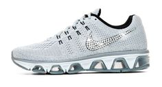 Nike Air Max Tailwind Running Shoes By Glitter Kicks - Customized With Swarovski Crystal Rhinestones - Gray/White