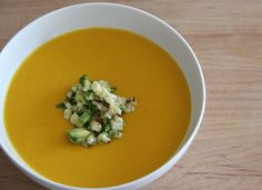Chilled Carrot Soup with Roasted Corn Salsa