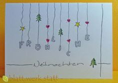 Glückwunschkarte Weihnachten Advent handgemalt in. Christmas Deco, Christmas Greeting Cards, Christmas Greetings, Christmas Time, Christmas Crafts, Card Making Inspiration, Christmas Inspiration, Style Inspiration, Yule