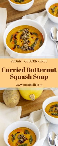 This curried butternut squash soup is a unique take on a classic dish. It is easy-to-make, healthy, and most importantly delicious! Easy Vegan Soup, Easy Vegan Lunch, Vegan Lunch Recipes, Vegan Soups, Vegan Dinners, Healthy Recipes, Quick Recipes, Healthy Meals, Thanksgiving Soups