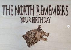 The north remembers your birthday  Stark house birthdaygift  #pyrography #woodburning #woodworking #pirográfia #ajándékötlet #trónokharca #birthdaygift #gameofthrones #stark #northremembers #direwolf #handmade #madewithlove #february #madeinhungary #magyartermék #homedecor #homedecoration #mik The North Remembers, Pyrography, Game Of Thrones, Woodburning