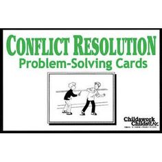 CONFLICT RESOLUTION PROBLEM SOLVING CARDS Product Number : 349801 This card set, with all new art, has multiple uses in the assessment and treatment of common childhood problems. The cards depict children in conflict with other children as well as with adults. Includes 24 cards and a manual featuring discussion ideas. Recommended for ages 6-14.