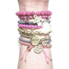 CATHAMMILL キャットハミル オーストラリア の ピンク ブレスレットセット Pop gold pink bracelet ゴールド クロス ハート ブレスレッド あくせさりー かさねづけ じゃらじゃら クロスブレスレット ハートアクセサリー かわいい 十字架 ジュエリーセット 海外 ブランド