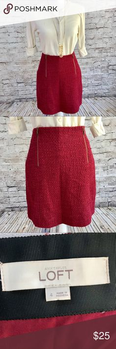 Ann Taylor LOFT Red Tweed Skirt Ann Taylor LOFT Red Tweed Skirt in like new condition. Material is 75% cotton and 25% polyester. Interior lining is 100% polyester. Skirt is dry clean only.  Also pictured with size Small J. Crew sweater, available in my closet.   🚫Trades ✅Open to reasonable offers LOFT Skirts Mini