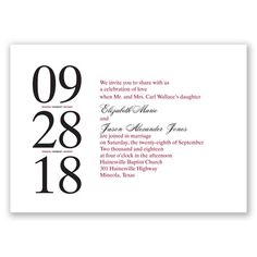 Letterpress Typography - Wedding Invitation, Contemporary, Modern at Invitations By David's Bridal #letterpress #weddinginvitations #davidsbridal