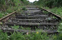 Old, unused train tracks.