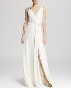 HALSTON HERITAGE Gown - Sleeveless Drape Jersey Drape Back   Bloomingdale's