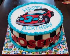 Race car birthday cake by Buttercream Wishes