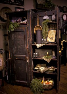 Awesome prim cupboard with side shelves! http://www.theoldehomestead.net/shop-tour/