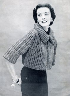 Fantastic business chic bolero or shrug. High-fashion vintage 1954 knitting pattern. So chic! Thick and chunky knit with over-sized collar and