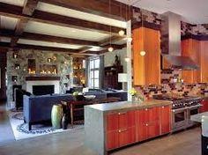 Resultado de imagem para integrated living room with kitchen