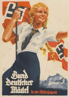 Government poster encouraging young women of the Reich to enlist in the League of German Girls. This group is the female counterpart to the Hitler Youth. Activities in this organization consists of specific duties, woman's health education courses for the long term when they decide to have children. The activities overall are essentially methods which the Nationalist Socialists deemed vital for the road ahead which the end goal is being an ideal, healthy, strong Aryan woman. Crucial for the…