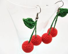 Shop for fruit jewelry on Etsy, the place to express your creativity through the buying and selling of handmade and vintage goods. Crochet Earrings Pattern, Crochet Jewelry Patterns, Crochet Bracelet, Crochet Accessories, Crochet Fruit, Crochet Flowers, Funky Earrings, Earrings Handmade, Pineapple Jewelry