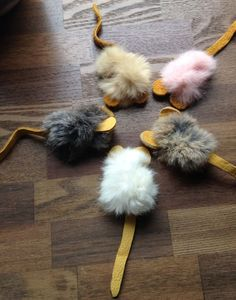 Rabbit Fur Fur Leather Mouse 5 per pack Cat Toy by whiskersnpaws