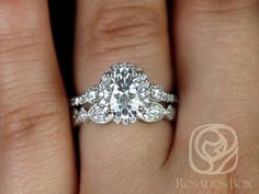 Natalia 9x7mm & Marquisa 14kt White Gold Oval FB Moissanite and Diamonds Halo Wedding Set (Other options available) by RosadosBox on Etsy https://www.etsy.com/listing/461172854/natalia-9x7mm-marquisa-14kt-white-gold