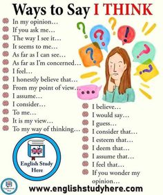 "Enlargement of the English vocabulary: other ways to say ""I think"" !, Enlargement of the English vocabulary: other ways to say ""I think"" ! Teaching English Grammar, English Writing Skills, English Vocabulary Words, Learn English Words, English Idioms, English Phrases, English Language Learning, English Study, English English"