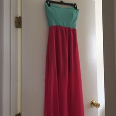 Maxi dress This is a pink and turquoise maxi dress. Size small only worn once. Dresses Maxi