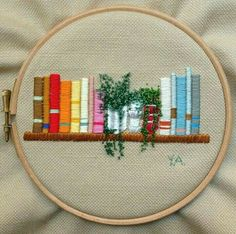 Book lovers embroidery. ♡♡♡