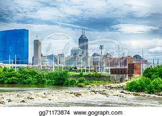 """Indianapolis skyline. Panoramic image of Indianapolis skyline at"" -Indiana Stock Photo from gograph.com"