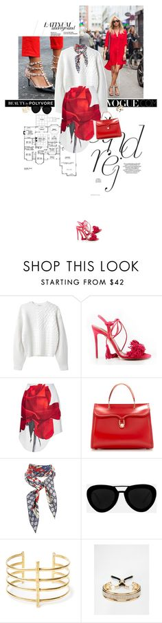 """""""Bloom."""" by sa3ina ❤ liked on Polyvore featuring Diane Von Furstenberg, Kenzo, Aquazzura, Karla Åpetic, Olympia Le-Tan, Gucci, Quattrocento, BauXo, Love Rocks and red"""
