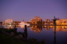 Coast Guard Cutter and the Wilmington Skyline.  Wilmington, NC.