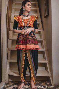 Black Khadi Navratri Special Kediya with Dhoti Salwar 141014 Garba Dress, Navratri Dress, Salwar Designs, Dress Designs, Churidar, Anarkali, Lehenga, Salwar Kameez, Dhoti Salwar Suits