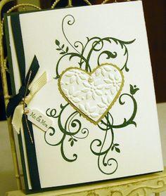 Wedding Card Hunter Green Gold Vanilla by britishislesartworks, $3.99