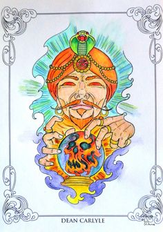 The Coloring Book Project 2nd Edition -  Dean Carlyle Design - Zoltar  Coloured with Derwent Academy Aquarell