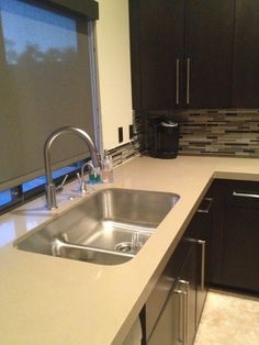 Kitchen Backsplash Was Done In Akdo Glass Stagger Neutral Blend Clear.  #ibtsdiego #kitchen