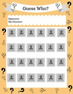 Guess Who Game Sheet Templates | Math template, Board ...