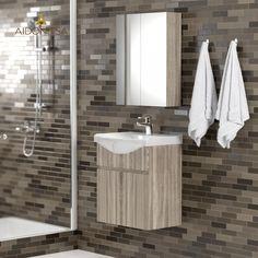 Σετ Μπάνιου, Odelia 55,Κρεμαστό έπιπλο με δύο πόρτες με νιπτήρα 55*45*62 και Καθρέπτη Ντουλάπι 52*14*65 (Δύο Πόρτες) ,Χρώμα Σονόμα Από την Alphab2b.gr Vanity, Bathroom, Dressing Tables, Washroom, Powder Room, Vanity Set, Full Bath, Single Vanities, Bath
