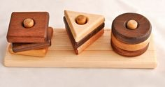 Montessori Baby Toy Wooden Shapes Stacker Organic Maple on Etsy, $46.63