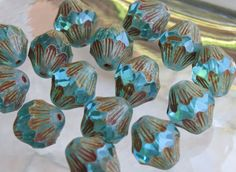 13x11mm Transparent Aqua Picasso Table Cut and by beadsandbabble, $2.99