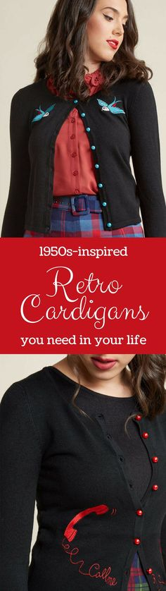 "Fun and whimsical 1950s-inspired retro cardigans featuring blue birds or a red telephone that spells out ""Call me"". Super fun vintage style accent pieces to add to your wardrobe!  #1950s #rockabilly #cardigan #sweater #phone #oldschool #rotaryphone #retro"