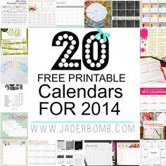 20 FREE PRINTABLE CALENDARS - 2014 - JADERBOMB