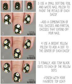 Summer or spring black daisy flower nails with polka dots tutorial White Nail Polish, Nail Polish Art, Daisy Nails, Flower Nails, Cute Nails, Pretty Nails, Nails Decoradas, Sunflower Nail Art, Beautiful Nail Designs