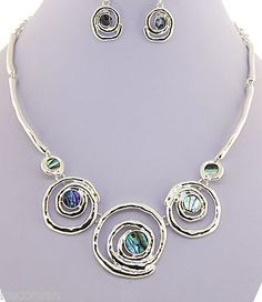 Silver Tone Circles Design Abalone Statement Chunky Necklace  Earrings Set