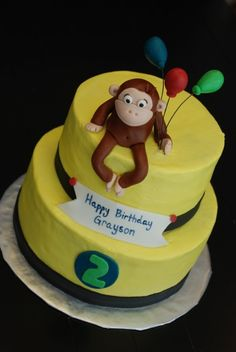 {Curious George Cake with Balloons} Curious George Cakes, Curious George Party, Curious George Birthday, 1st Birthday Parties, 3rd Birthday, Birthday Ideas, Balloon Cake, Cupcake Cakes, Cupcakes