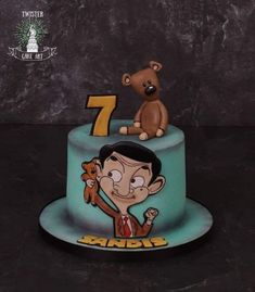 Mr Bean cake by Twister Cake Art - Birthday Cake Vanilla Ideen Mr Bean Birthday, Art Birthday Cake, Cartoon Birthday Cake, Happy Birthday, Mr Bean Cake, Bean Cakes, Mr. Bean, Mr Bean Desenho, Mr Bean Cartoon