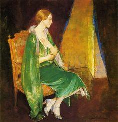 Pierre Carrier-Belleuse (1851-1932) Elegant Woman In A Green Dress Pastel 1901