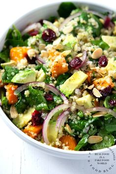 Roasted Sweet Potato, Spinach and Quinoa Salad A Powerhouse Of Nutrients In A Summer Side Dish Or Veg Main Dish With Roasted Sweet Potatoes, Spinach, Quinoa And Avocados In A Light Lemony Vinaigrette Healthy Salad Recipes, Whole Food Recipes, Cooking Recipes, Side Salad Recipes, Cooking Kale, Cooking Ribs, Cooking Pumpkin, Grilling Recipes, Cooking Ideas