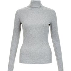 Grey Ribbed Turtle Neck Jumper ($5.31) ❤ liked on Polyvore featuring tops, sweaters, turtle neck jumper, grey sweater, grey jumper, gray turtleneck and gray turtleneck sweater